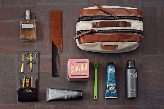Mens Style, Menswear, Mens Fashion, Grooming, Travel Kit, Travel Style, Leather Bag, Aramis