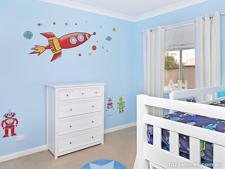 Blasting off into outer space! Awesome wall decals @ 18 Wellington Avenue, TATTON - Fitzpatricks Real Estate Wagga Wagga #fitzre #fitzgallery #fitzgalleryKids