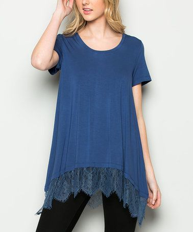 Loving this Teal Blue Lace Hem Short-Sleeve Tunic on #zulily! #zulilyfinds