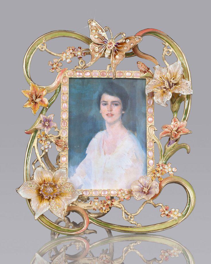 Jay strongwater madeleine floral cabochon 5 x 7 frame for Madeleine decoration