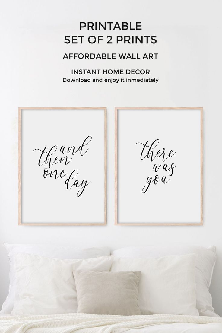 Bedroom wall decor, Set of 2 prints, Love quote for bedroom, PRINTABLE wall art, And then one day th