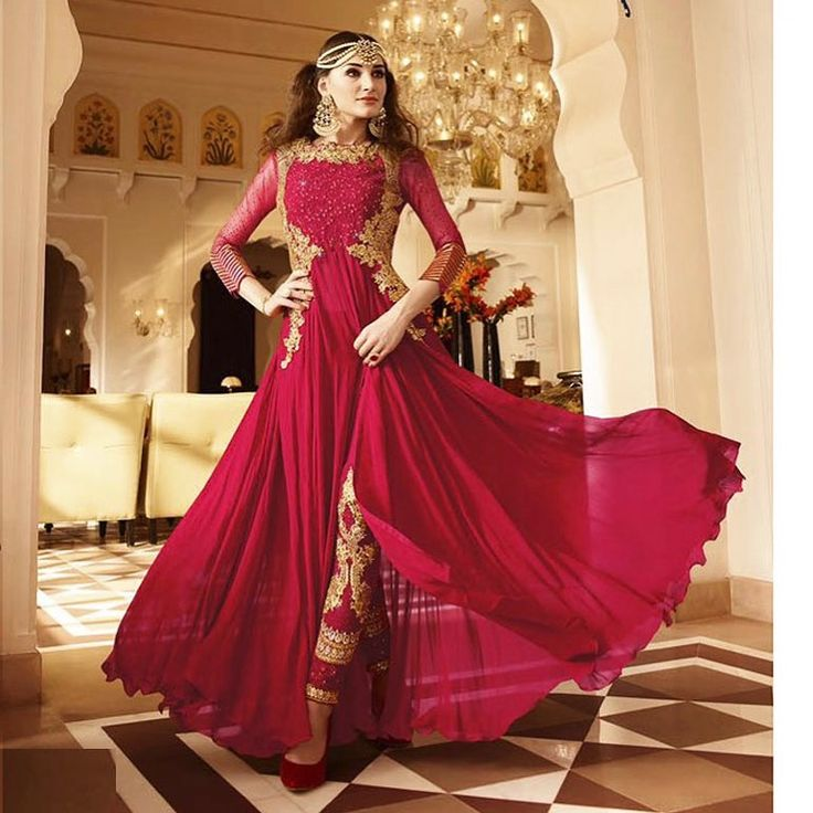 Red designer anarkali with elegant work and embroidered neck and bottom