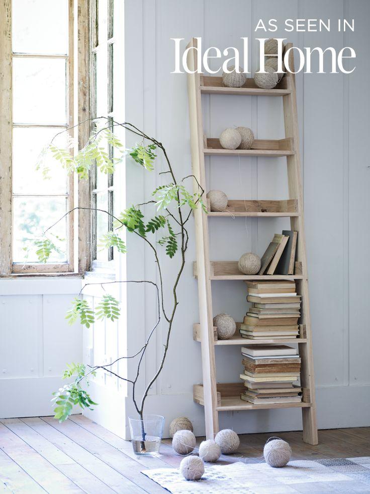 Talbot Raw Oak Wooden Ladder Shelf