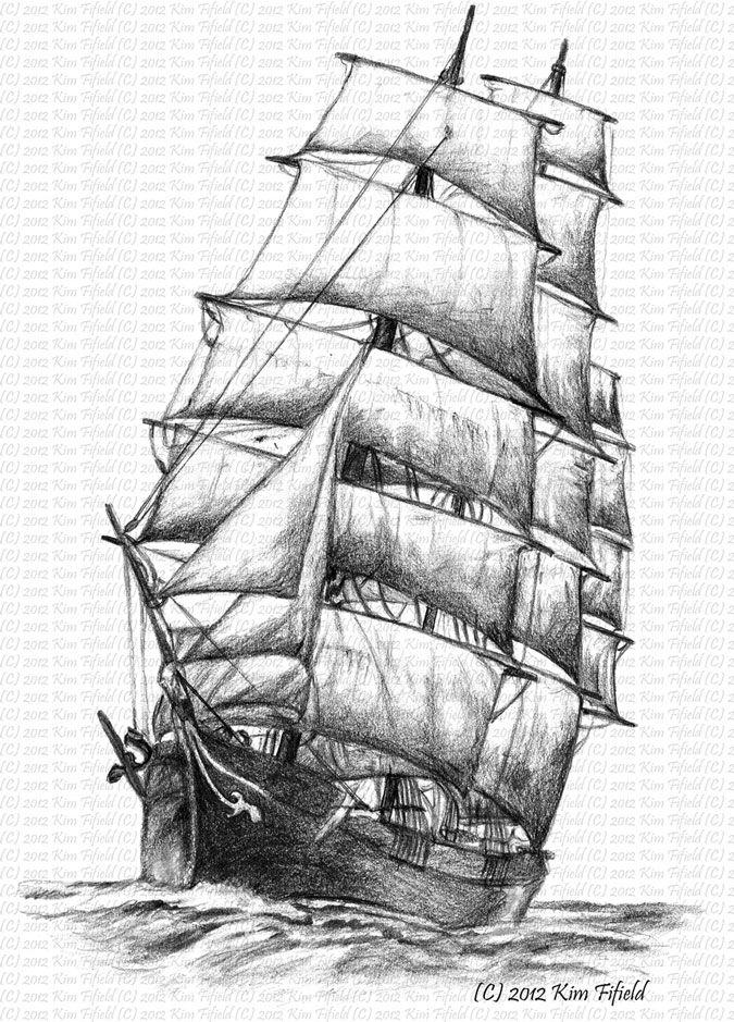 Fat Fergus Designs: Sailing Ship Windermere, pencil on paper