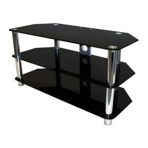 Black Glass and Chrome Legs TV Stand