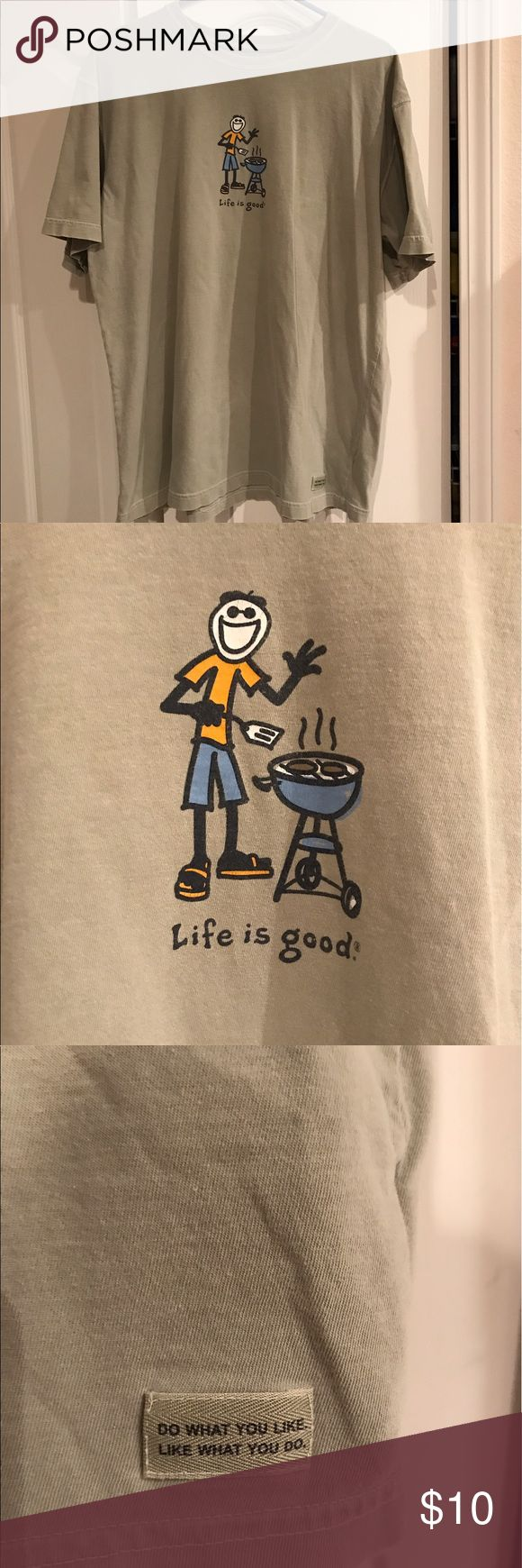 Men's LIFE IS GOOD BBQ tshirt size large The sexiest shirt in ALL of poshmark. LIFE is GOOD brand men's BBQ tshirt size large. Very good preworn condition no rips tears or holes but captures the very essence of suburban sexy. Life Is Good Shirts Tees - Short Sleeve