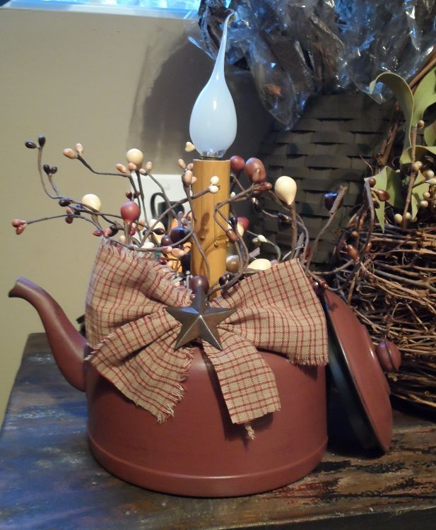 Primitive Crafts | Decorative Tea Pot Electric Candle Light Primitive Craft