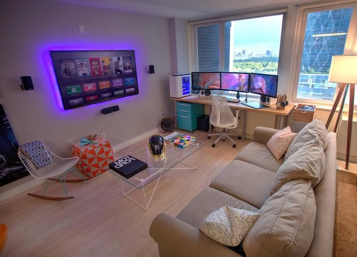 Wooden Floor Led Light Computer Desk How To Decorate A Small Living Room Beige Couch Glass In 2020 Small Game Rooms Minimalist Living Room Decor Living Room Decor Cozy