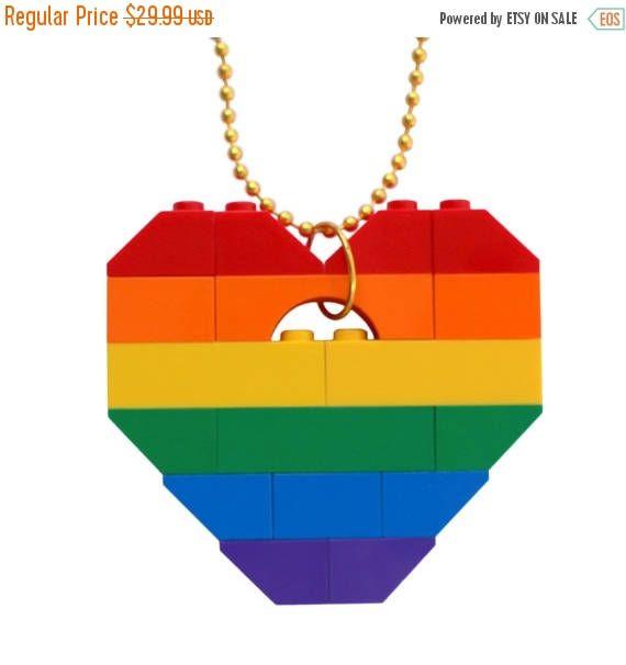ON SALE Funky Rainbow necklace  Chunky heart pendant  made #MademoiselleAlma #LEGO #ETSY