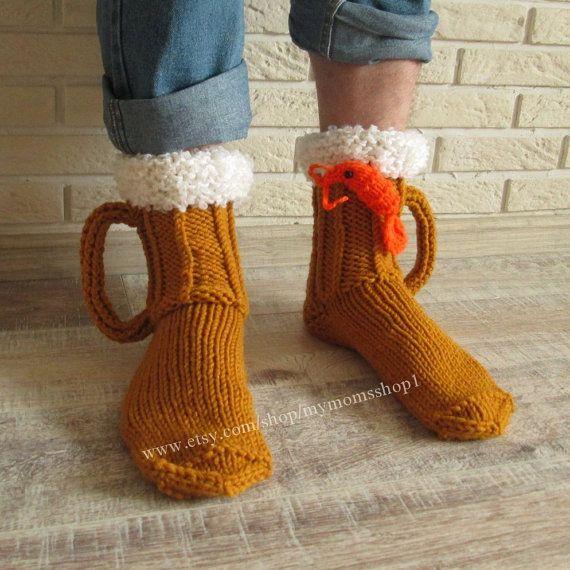 Hand knit socks Beer & shrimp socks mens socks Beer by mymomsshop1