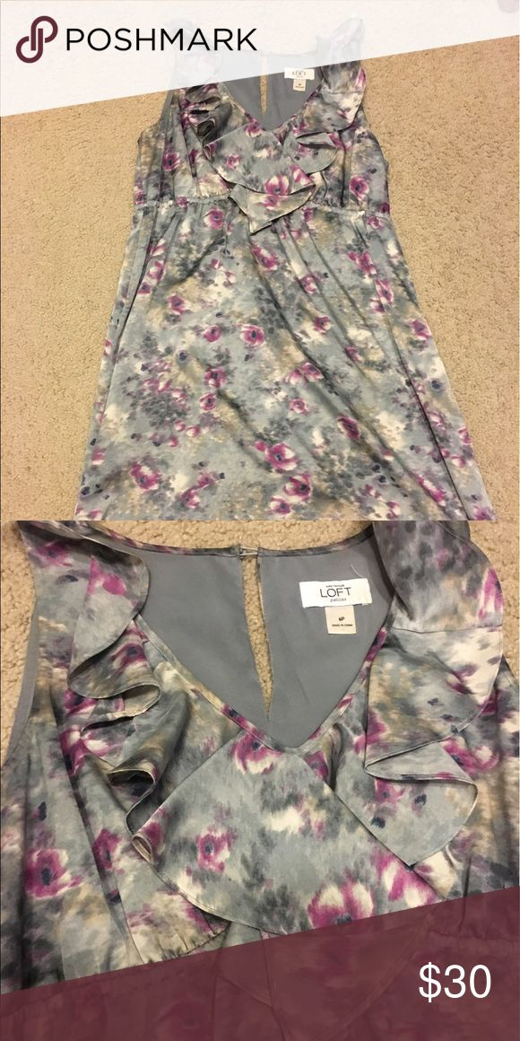 LOFT gray and purple floral dress Gray and purple floral dress, silk-like material LOFT Dresses