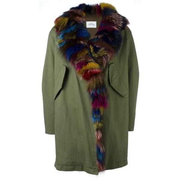 Forte Couture Parka mit mehrfarbigem Pelzbesatz, Grün