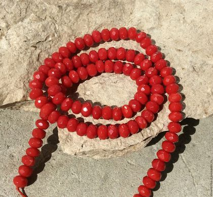 Для украшений ручной работы. Ярмарка Мастеров - ручная работа. Купить Коралл 6 мм - 10 шт красный рондель огранка бусины для украшений. Handmade.