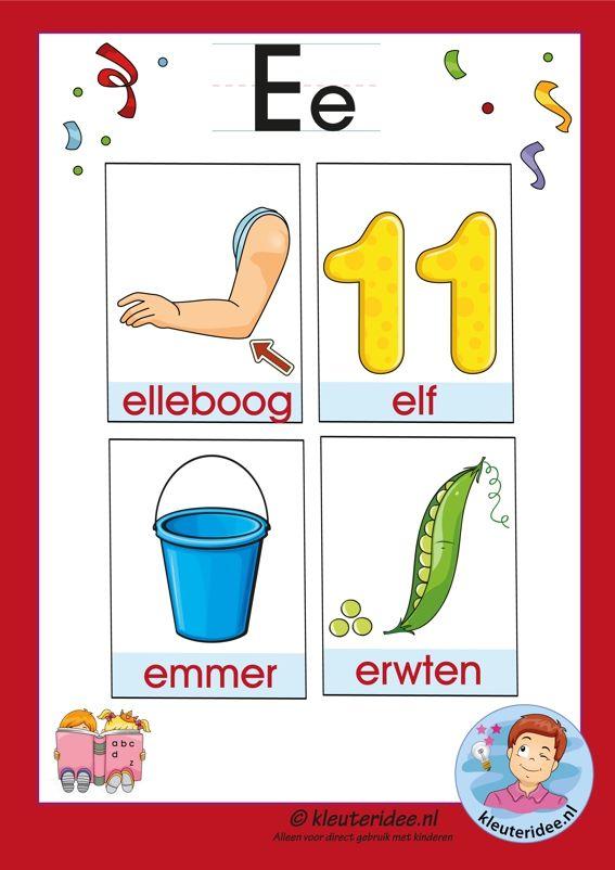 Pakket over de letter e blad 3a, woordkaarten met een e, kleuteridee.nl, free printable.