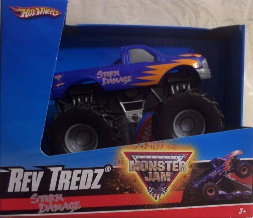 2010 Hot Wheels Monster Jam Rev Tredz STORM DAMAGE 1:43 Scale Collectible Truck by Mattel. $7.79. Rev'em and Race'em. Spinning Wheels. Realistic Reving Sound. New for 2010. Official Monster Jam Truck. Crush the Competition with this 1:43 scale Hot Wheels truck! Let the dirt fly with these ground-poundin Hot Wheels Monster Trucks. Rev up for total domination and destruction on the Monster Jam circuit. It's unstoppable, in-your face Monster Jam madness! With ferocious four-wheel...