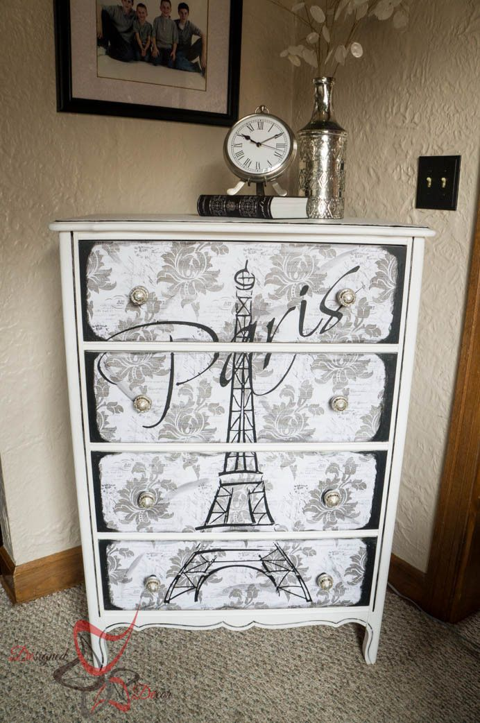 How to make large furniture stencils with Silhouette Cameo-Eiffel-tower-dresser