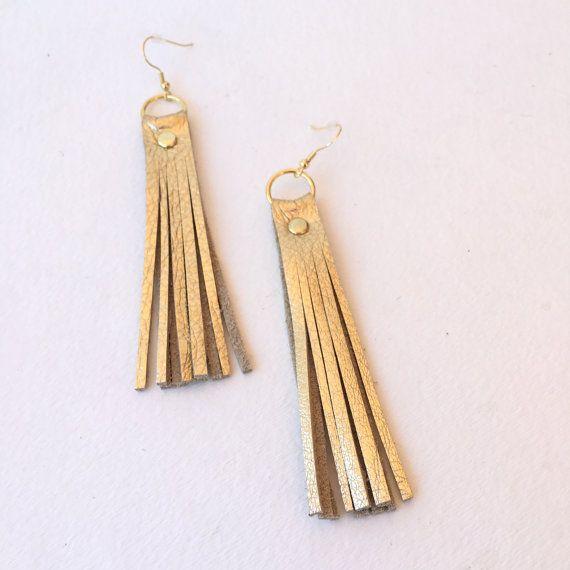 Gold Leather Fringe Earrings Dangle Earrings Tassel by PetiteHero