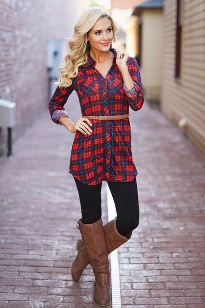 How I'll Always Be Plaid Tunic - Red