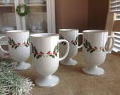 FREE SHIPPING Porcelain Irish Coffee Mugs Holly Christmas Mugs Made in Japan Footed Cups with Gold Trim