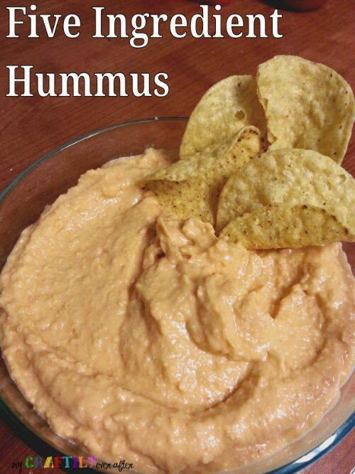 Five Ingredient Hummus 1 16 oz can of garbanzo beans (chickpeas work too) and 1/4 cup liquid from can 1-3 tablespoons lemon juice (depending on your tastes) 1 1/2 tablespoons tahini 2 tablespoon of garlic (crushed/minced whatever) 2 tablespoons olive oil