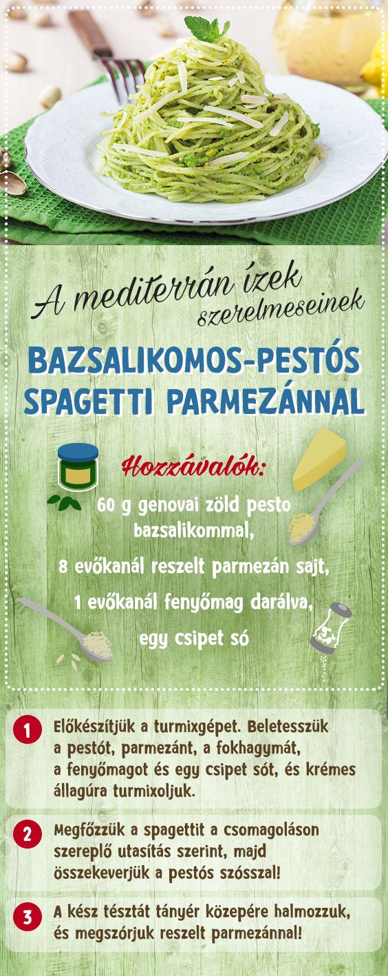 Ínycsiklandozó bazsalikomos-pestós spagetti recept a mediterrán ízek rajongóinak. #TescoMagyarország #mediterránételek #bazsalikom #pesto #parmezan #recept