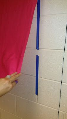 "Nice!! Making cloth ""bulletin boards"" straight onto my cinderblock classroom walls."