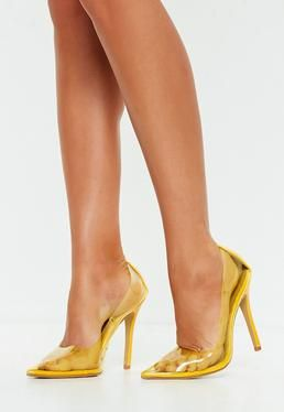 4eab594d5b5d1a Yellow Clear Pointed Court Shoes