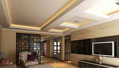 living room design - living room with suspended ceiling and indirect lighting - ceiling design