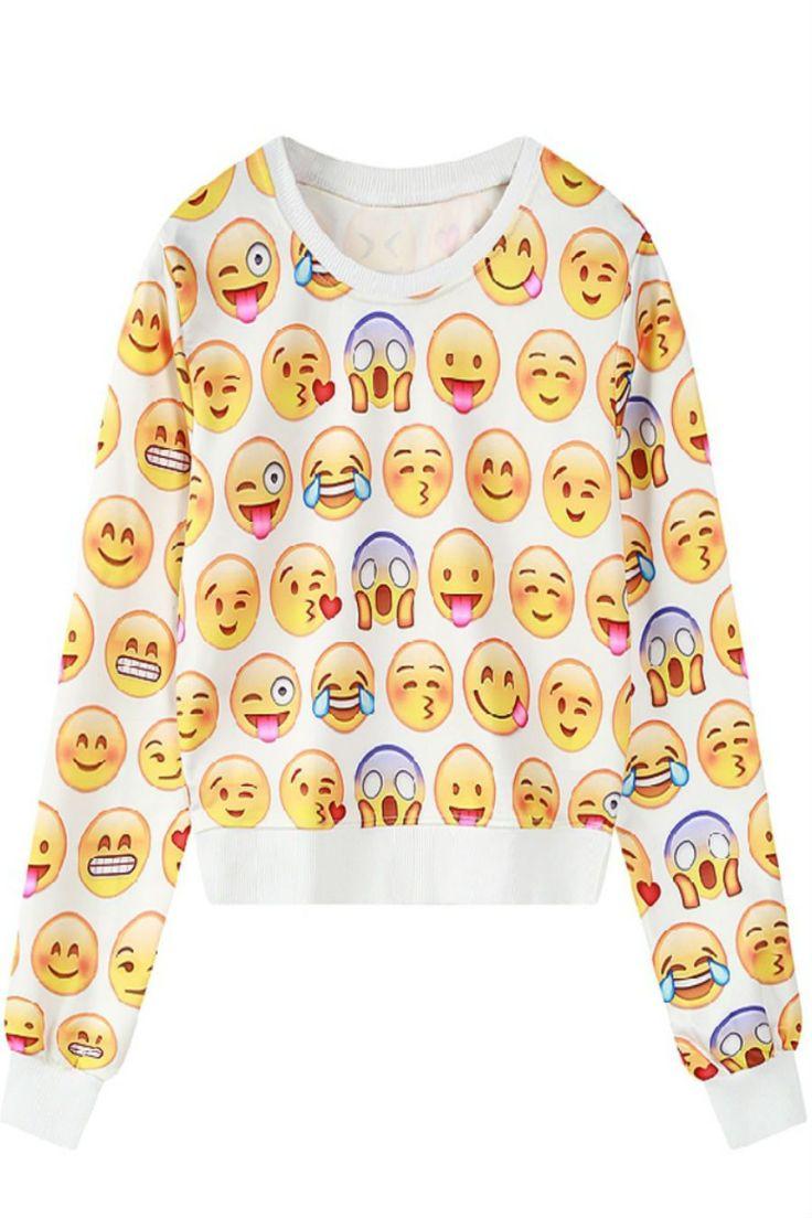 Cute Emoji Print Sweater
