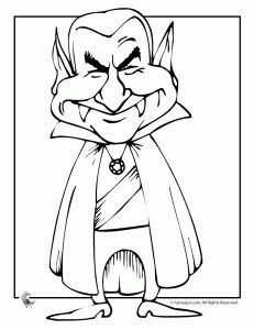 Dracula Cartoon Halloween Coloring Page