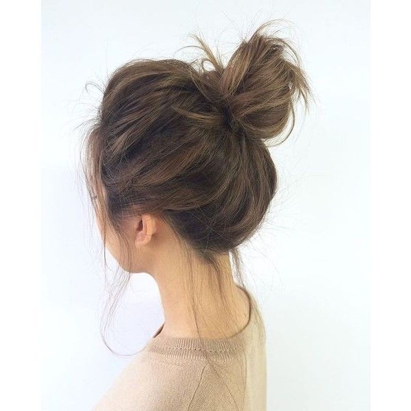 25 Messy Topknots That Will Make You Sigh with Envy ❤ liked on Polyvore featuring beauty products, haircare, hair styling tools, hair, hairstyle and messy bun
