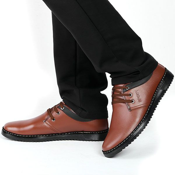 Men Lace Up Casual Business Leather Oxfords Shoes