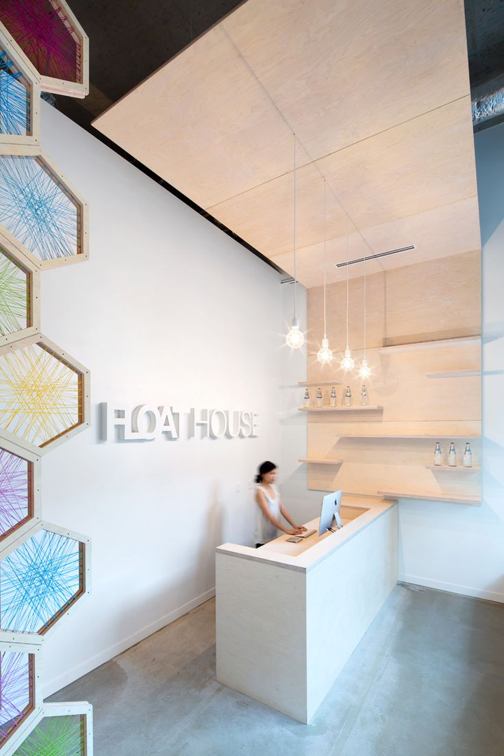 A 17 Foot Birchwood Screen Greets You At The FloatHouse In Vancouver   Office Reception DesignCorporate ...