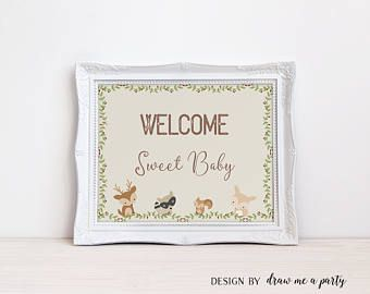 Woodland Baby Shower , Welcome Baby Sign , Forest Baby Shower Decor , Forest Animals Sign , Welcome Baby , Printable , Instant Download