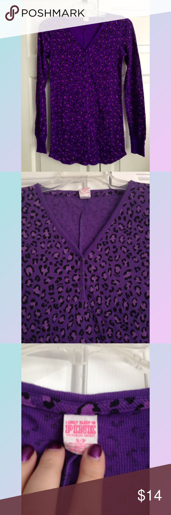 """VS PINK Violet Cheetah Print Thermal Henley Top Excellent used condition, some extremely light pilling on the cuffs. Smoke and pet free home. From the """"I Only Sleep In PINK"""" line. :) No trades, please! PINK Victoria's Secret Tops Tees - Long Sleeve"""