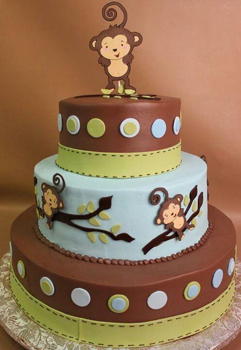 Baby Shower Monkey Decorations Part - 44: Baby Boy Monkey First Birthday Cake - Google Search