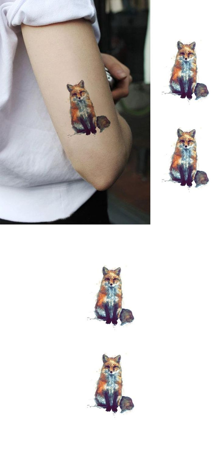 [Visit to Buy] Waterproof Temporary Fake Tattoo Stickers Fox Animals Oil Painting Design Body Art Make Up Tool #Advertisement