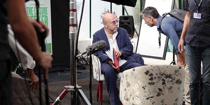 Paolo Virzì on Smania Amal Armchair during the Biennale del Cinema di Venezia 2017.