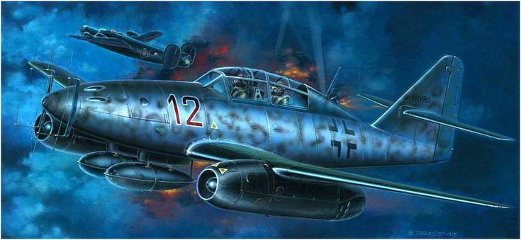 Messerschmitt Me-262B-1a/U1 biplaza, Nachtjäger 'Rojo 12' (W.Nr. 111980) de la 10./NJG.11 'Kommando Welter'; Schleswig Jagel 1945. Más en www.elgrancapitan.org/foro/