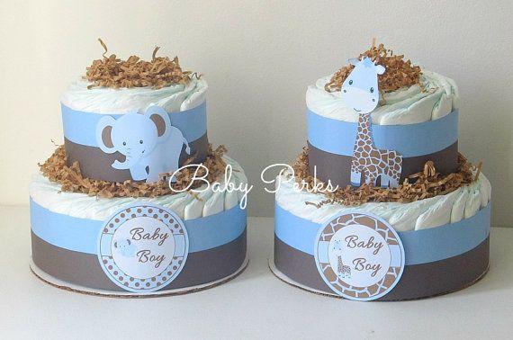 Giraffe Diaper Cake ,Elephant Diaper Cake, Jungle Baby Shower Decorations  , Safari Baby Shower, Elephant Diaper cake