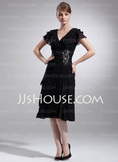 Mother of the Bride Dresses - $137.09 - A-Line/Princess V-neck Knee-Length Chiffon  Charmeuse Mother of the Bride Dresses With Ruffle  Lace  Beadwork (008006041) http://jjshouse.com/A-line-Princess-V-neck-Knee-length-Chiffon-Charmeuse-Mother-Of-The-Bride-Dresses-With-Ruffle-Lace-Beadwork-008006041-g6041