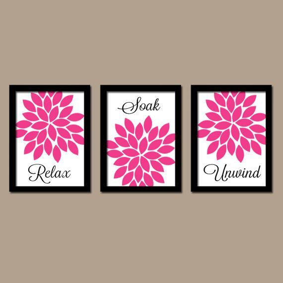 Hot pink black bathroom wall art canvas or prints for Pink and black bathroom decor
