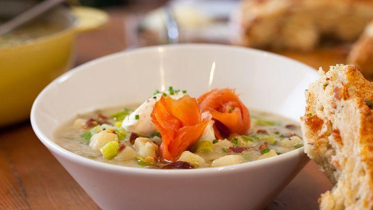 Potato Leek Soup with Smoked Salmon and Crème Fraîche