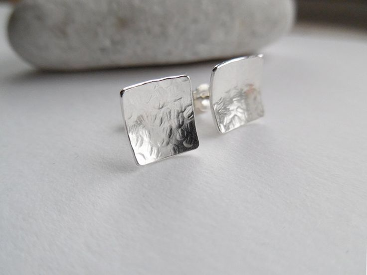Silver Square Stud Earrings | Small Square Stud Earrings | Small Silver Earrings | Square Concave Studs | Textured Square Stud Earrings