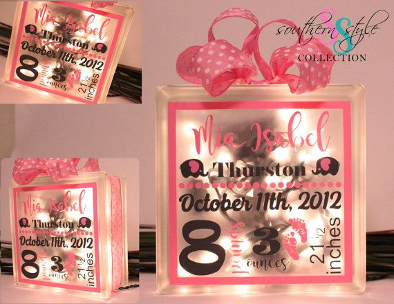 Newborn Birth Stats Lighted Glass Block Newborn Gift