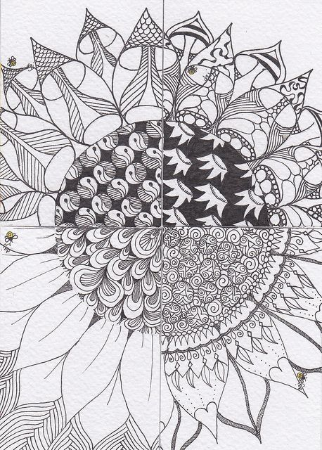 Zentangle Sunflower. each st. gets 1/4 of sunflower outline to fill w/ their own patterns, then put the flower together