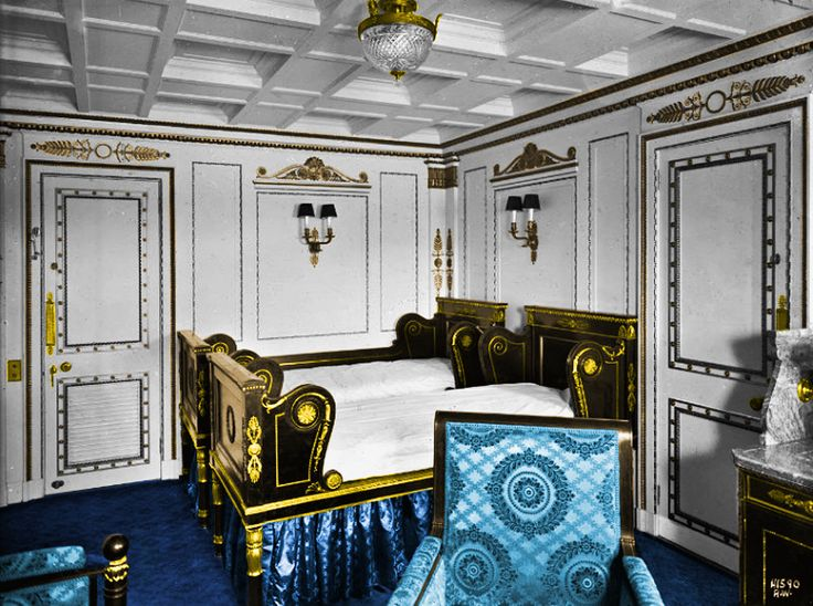 First Class Staterooms  Empire Rooms C-84 and C-65  The Empire Style was created by French architects Charles Percier and Pierre Fontaine during the First French Empire (1804-1815) and was designed to idealize the rule of Napoleon Bonaparte. The most famous example of the style can be found in the Arc de Triomphe du Caroussel in Paris. colorized in akvis coloriage
