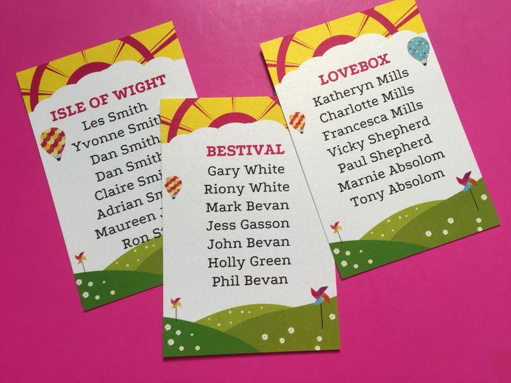 Festival table plan cards by Fuschia.