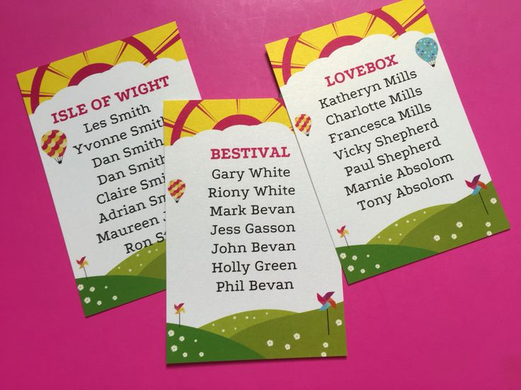 Festival table plan cards by Fuschia.