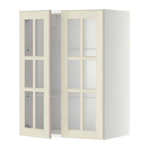 IKEA - METOD, Wandschrank mit Böden/2 Glastüren, weiß, Bodbyn elfenbeinweiß, 60x80 cm, , Mit versetzbarem Boden; der Abstand dazwischen kann dem Bedarf angepasst werden.Das Grundelement ist stabil konstruiert: 18 mm stark.Dank der Schnappscharniere lassen sich die Türen einfach ohne Schrauben montieren und zum Reinigen leicht abnehmen.